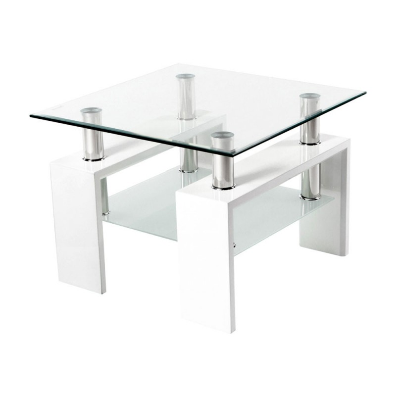 Журнальный столик  Журнальный стол ST-052 Прозрачный, стекло / Белый