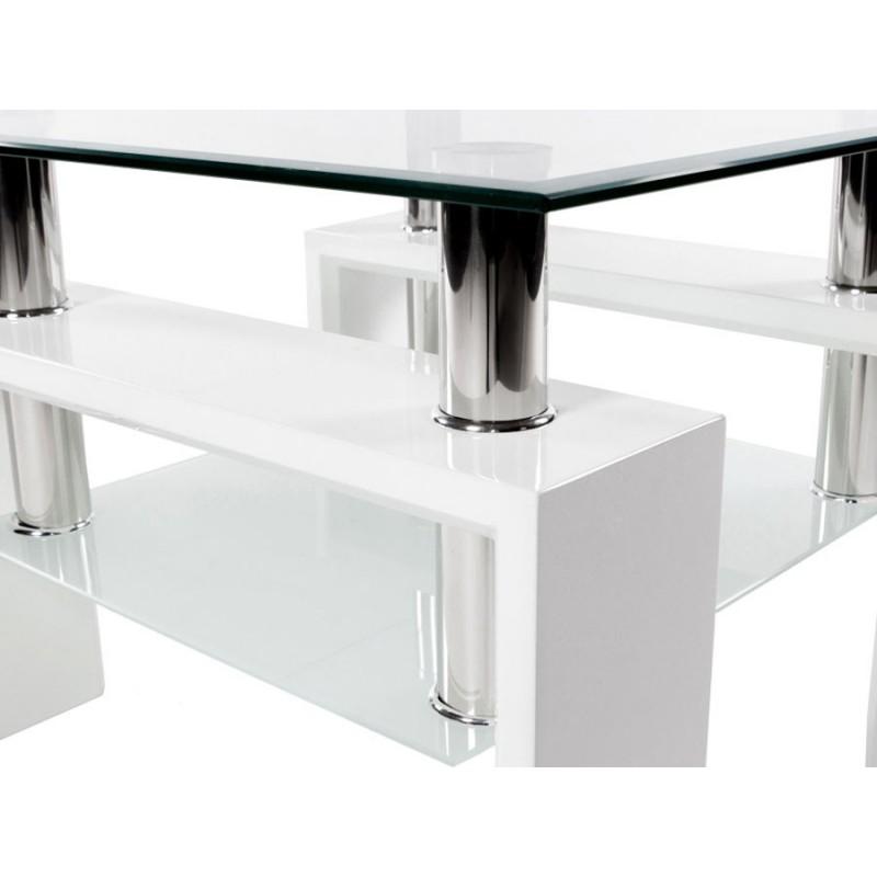 Журнальный столик  Журнальный стол ST-052 Прозрачный, стекло / Белый (фото 4)