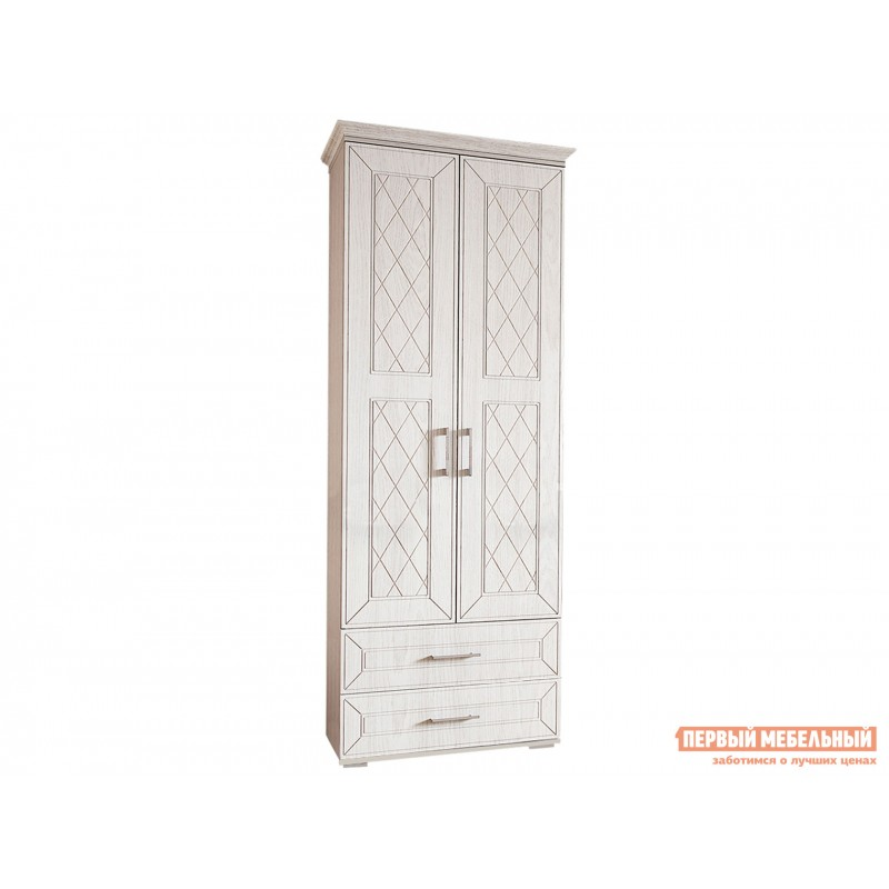 Распашной шкаф  Шкаф 2-х створчатый Британика Дуб атланта / Дуб брашированный, С карнизом