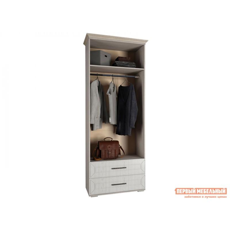 Распашной шкаф  Шкаф 2-х створчатый Британика Дуб атланта / Дуб брашированный, С карнизом (фото 2)