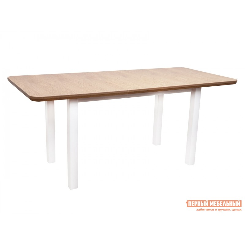 Кухонный стол  Стол WENUS 2 S, 140(180)*80*76 Дуб натуральный / Белый (фото 2)