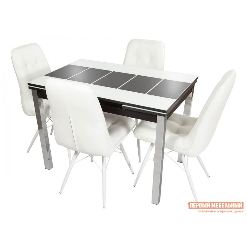 Обеденная группа для столовой и гостиной  Стол Шанхай + 4 стула Бордо Белый, Черный / Батлер 08; Белый