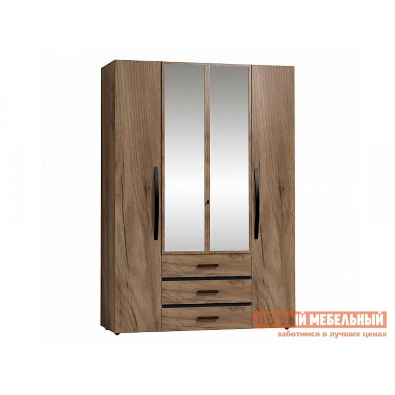 Распашной шкаф  Nature 555 (спальня) Шкаф для одежды и белья Дуб табачный craft / Черный