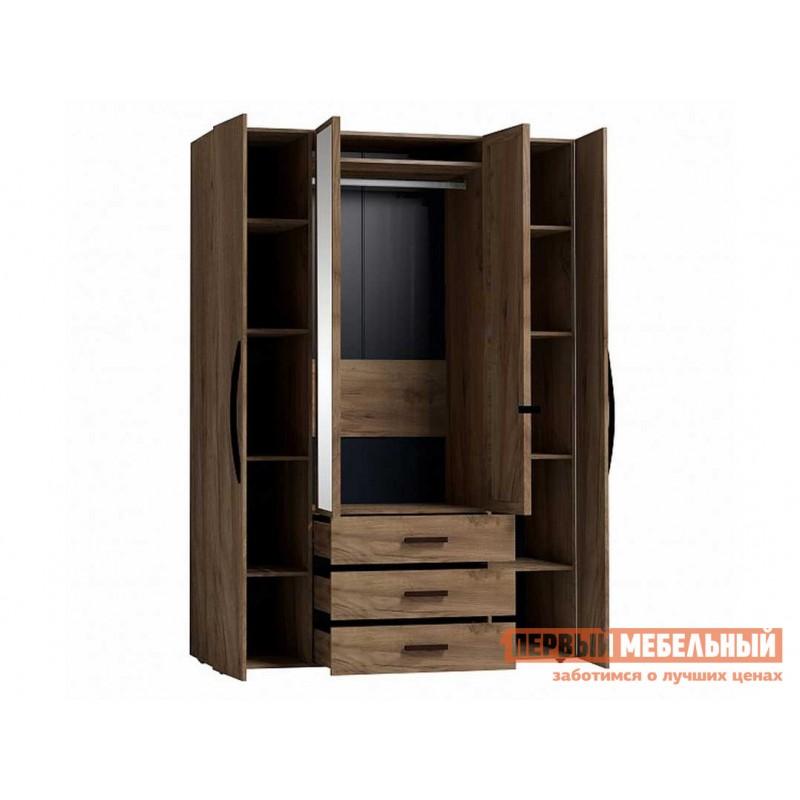 Распашной шкаф  Nature 555 (спальня) Шкаф для одежды и белья Дуб табачный craft / Черный (фото 2)