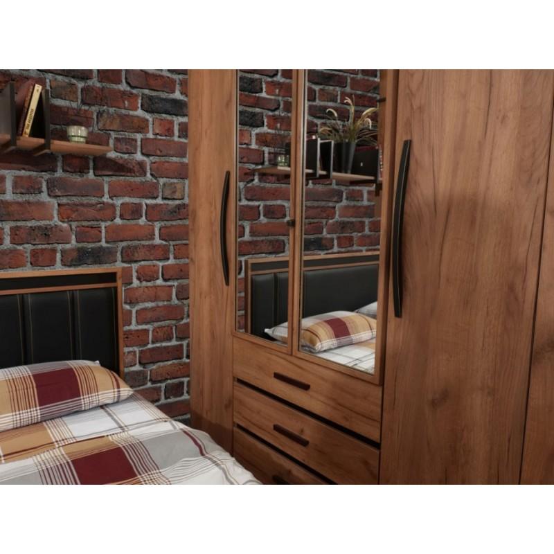 Распашной шкаф  Nature 555 (спальня) Шкаф для одежды и белья Дуб табачный craft / Черный (фото 3)