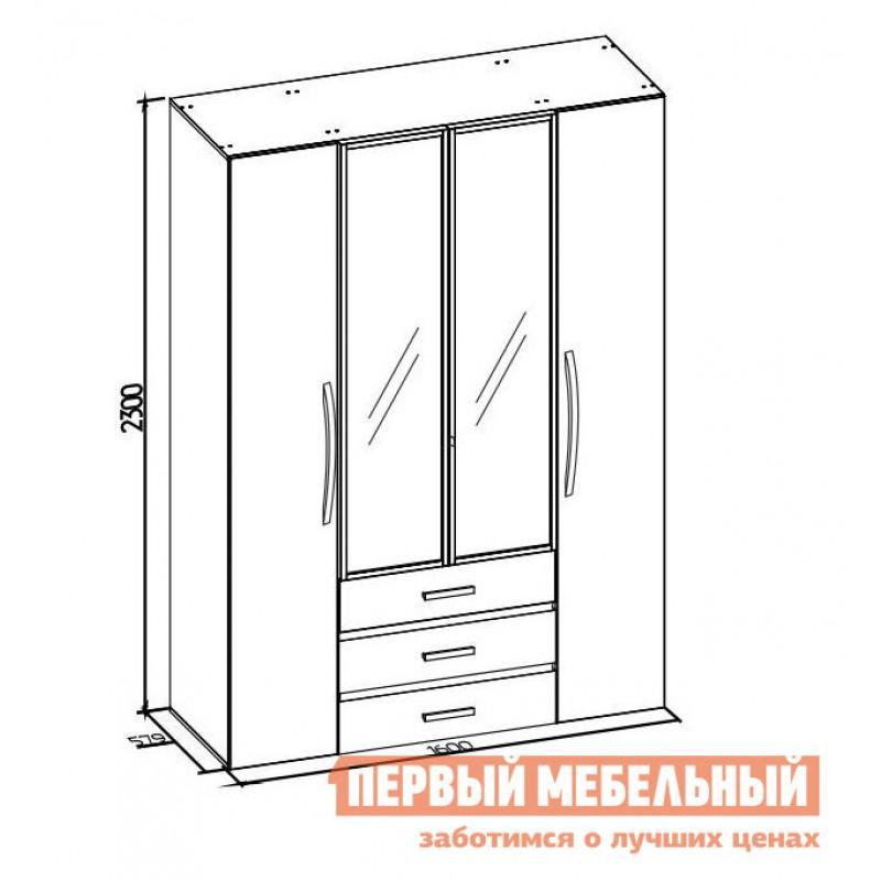 Распашной шкаф  Nature 555 (спальня) Шкаф для одежды и белья Дуб табачный craft / Черный (фото 5)