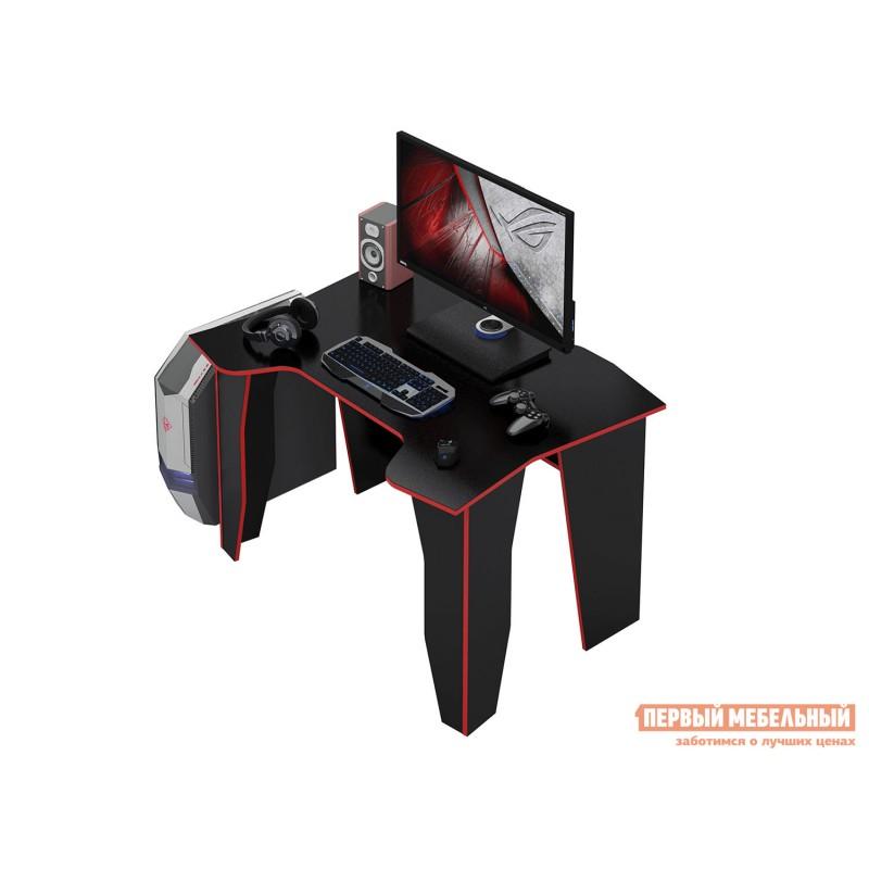 Компьютерный стол  МСТ-СИС-01 Стол игровой Страйкер-1 Черный с красной кромкой (фото 2)