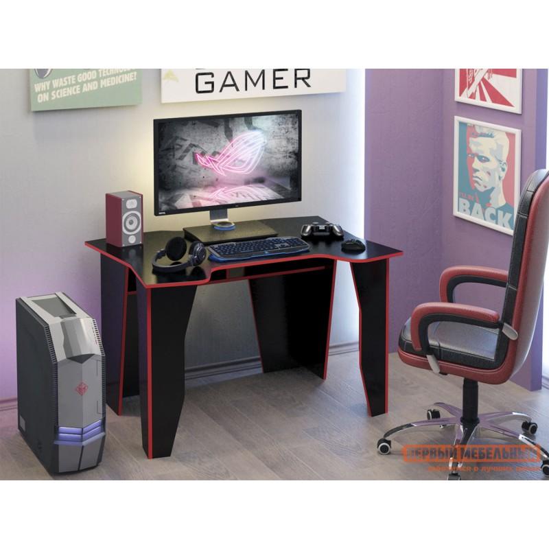 Компьютерный стол  МСТ-СИС-01 Стол игровой Страйкер-1 Черный с красной кромкой (фото 6)