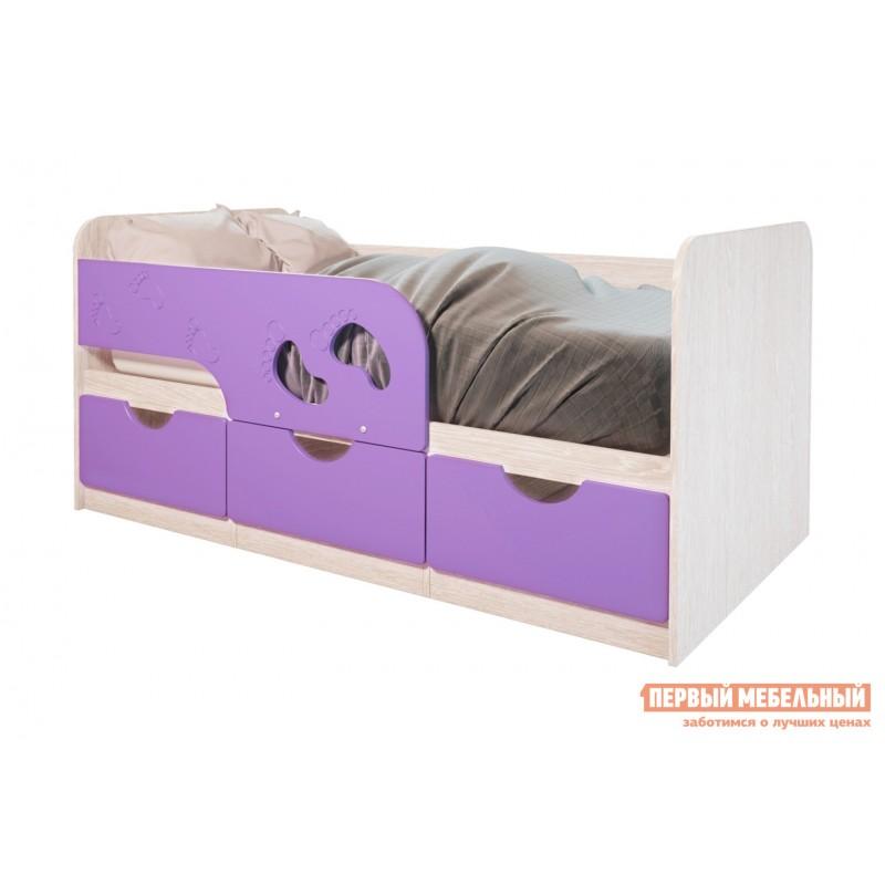 Детская кровать  Лего 1 Дуб Атланта / Лиловый сад
