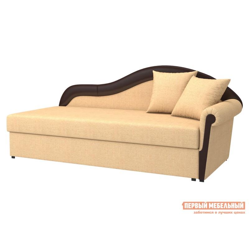 Угловой диван  Вентура Песочный, рогожка / Коричневый, иск. кожа, Правый