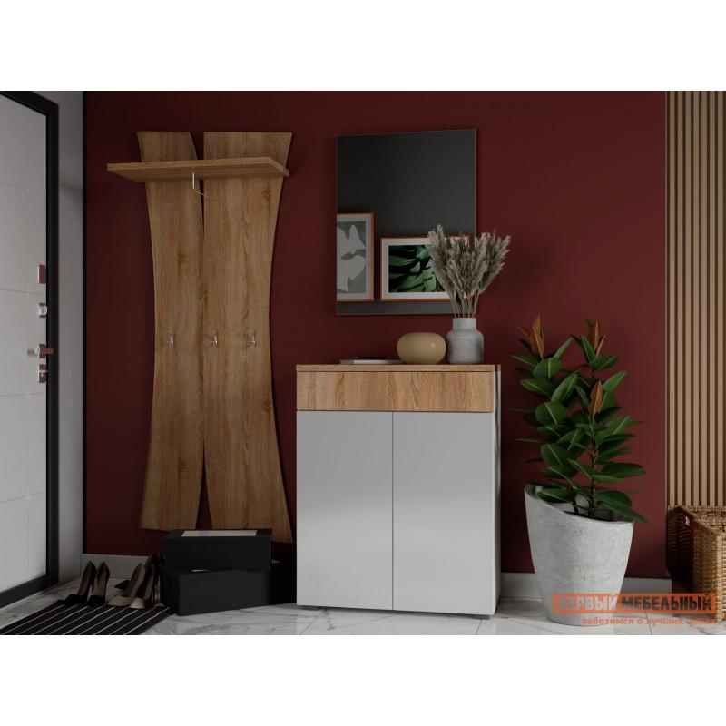 Прихожая  Комплект мебели для прихожей Куба 2 Дуб Сонома / Белый глянец