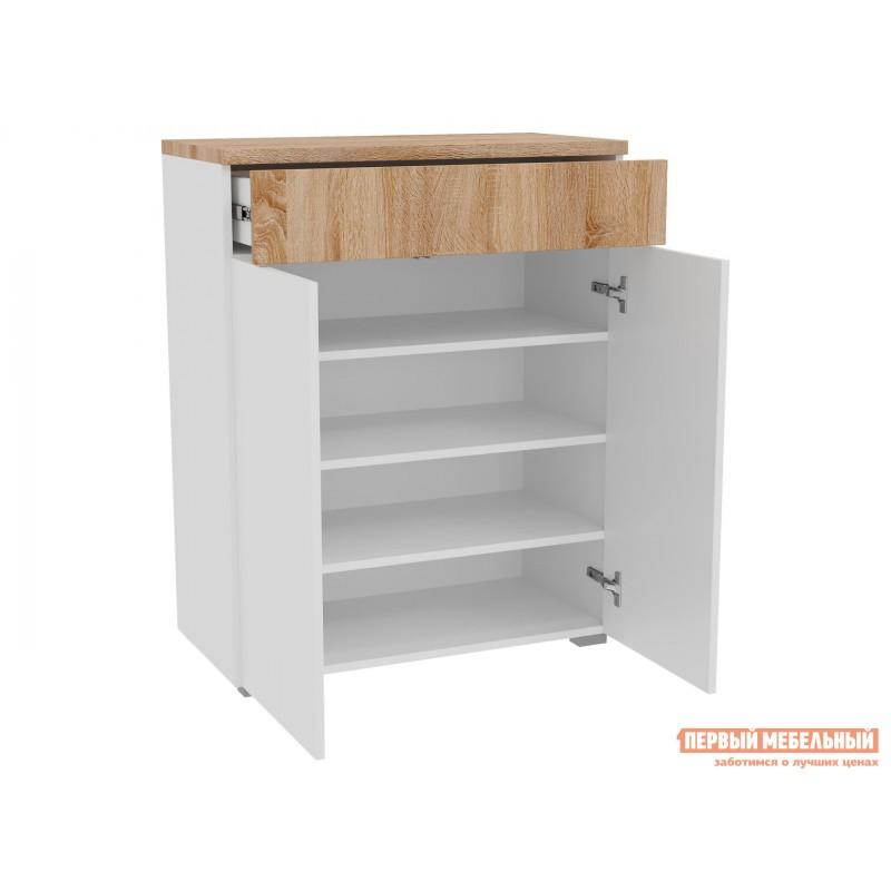 Прихожая  Комплект мебели для прихожей Куба 2 Дуб Сонома / Белый глянец (фото 3)