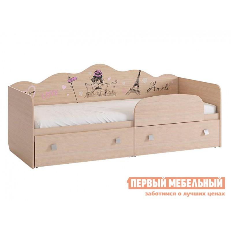 Детская кровать  Амели кровать Дуб Млечный, С бортиком