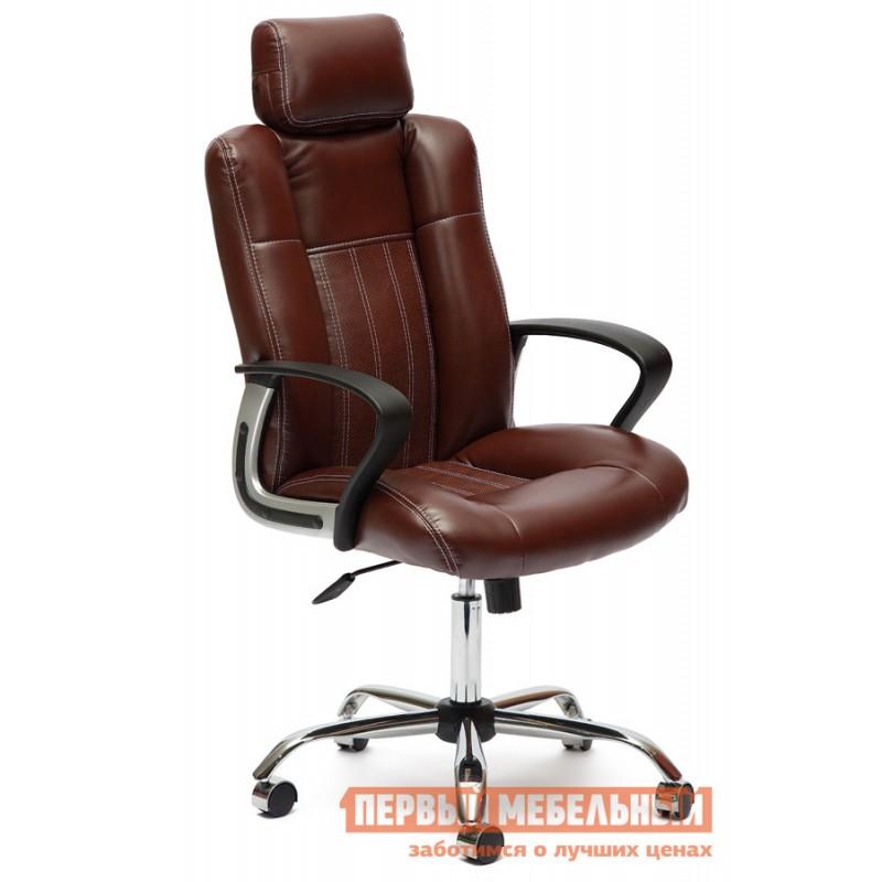 Кресло руководителя  Oxford хром Иск.кожа коричневый 2 TONE/Коричневый перфор. 2 TONE