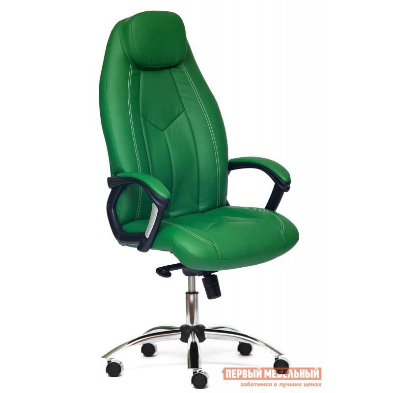 Кресло руководителя  BOSS люкс Кож/зам, зеленый/зеленый перфорированный, 36-001/36-001/06