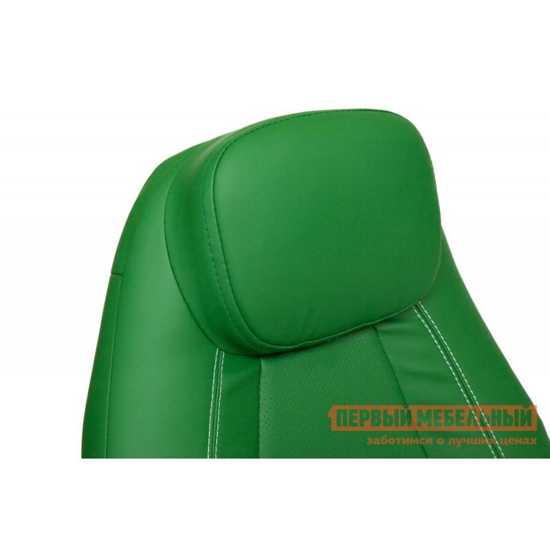 Кресло руководителя  BOSS люкс Кож/зам, зеленый/зеленый перфорированный, 36-001/36-001/06 (фото 6)