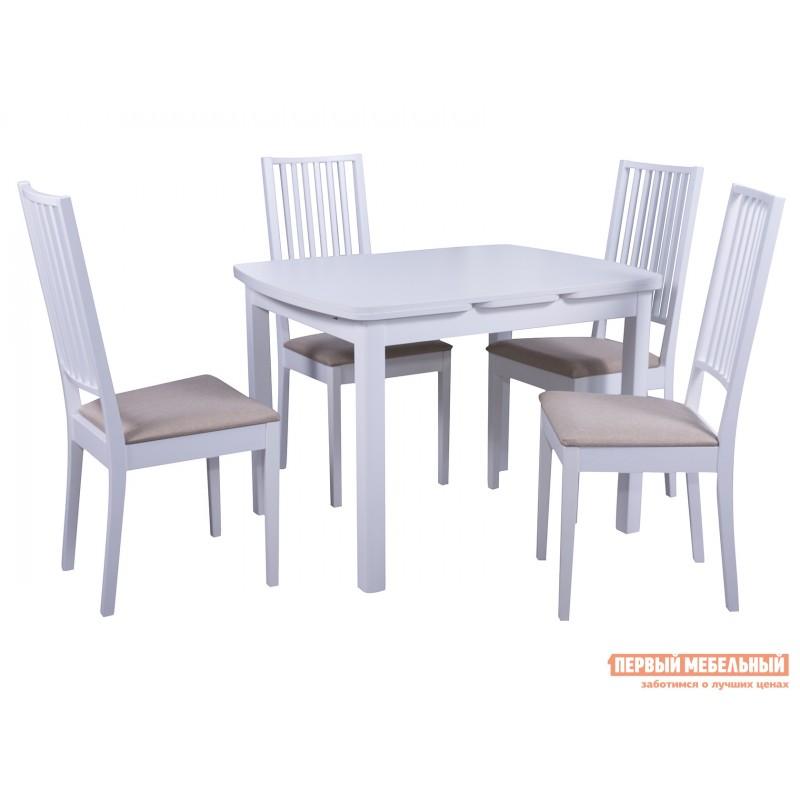 Обеденная группа для столовой и гостиной  Стол Орлеан + 4 стула Родос Белый / Ткань бежевая