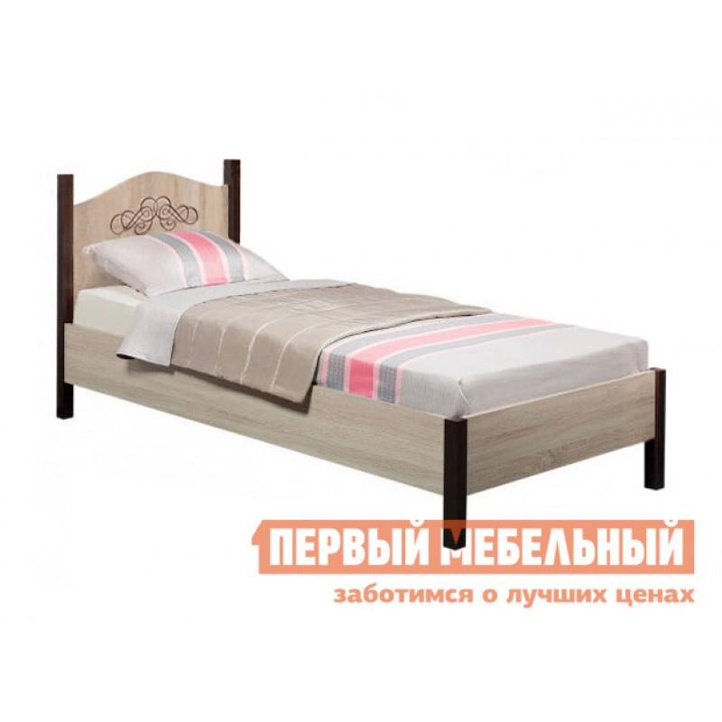 Односпальная кровать  ADELE 5/4 Дуб Сонома / Орех Шоколадный, С металлическим основанием, 900 Х 2000 мм