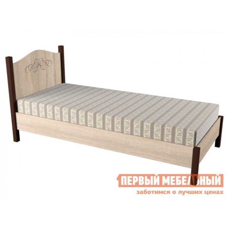 Односпальная кровать  ADELE 5/4 Дуб Сонома / Орех Шоколадный, С металлическим основанием, 900 Х 2000 мм (фото 3)
