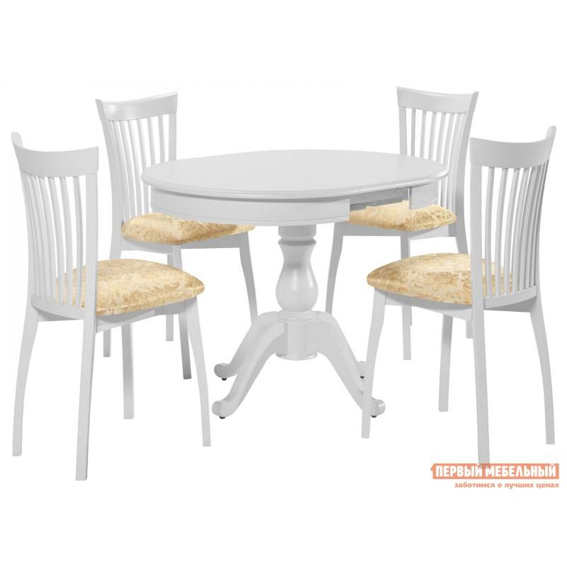 Обеденная группа для столовой и гостиной  Стол Фабрицио + 4 стула Тулон Эмаль белая / Андрис вензель 160