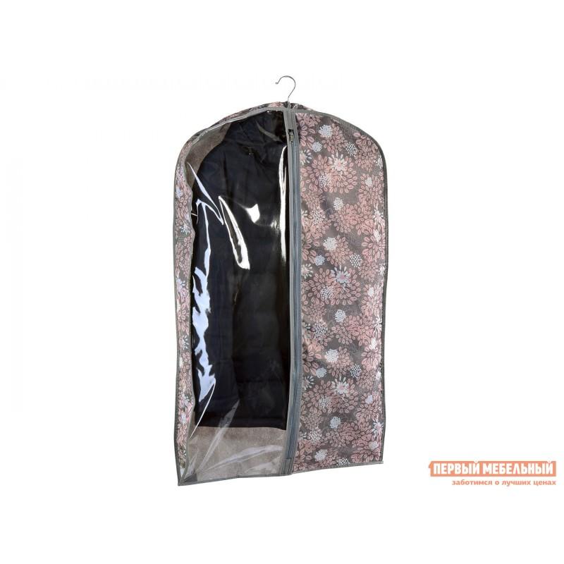 Кофр  Чехол объемный для одежды большой, 60х130х10см Серебро, спанбонд
