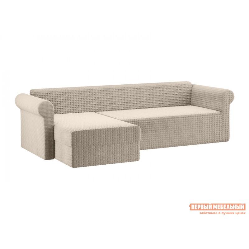 Чехол для мебели  Чехол на угловой диван с оттоманкой Капучино, жатка, Левый