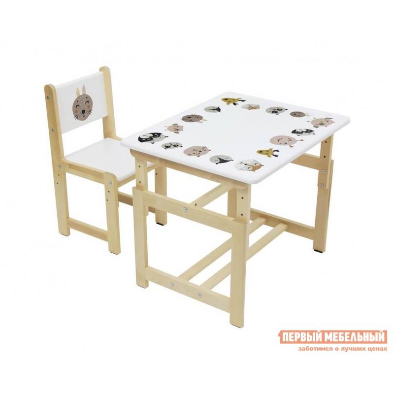 Столик и стульчик  Комплект растущей детской мебели Polini kids Eco 400 SM 68х55 см Лесная сказка