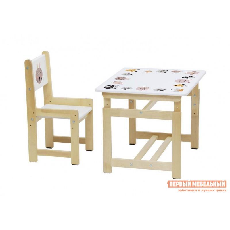 Столик и стульчик  Комплект растущей детской мебели Polini kids Eco 400 SM 68х55 см Лесная сказка (фото 2)