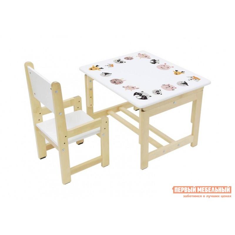Столик и стульчик  Комплект растущей детской мебели Polini kids Eco 400 SM 68х55 см Лесная сказка (фото 3)
