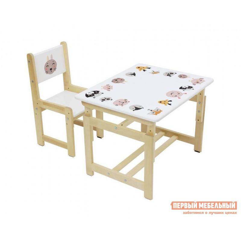 Столик и стульчик  Комплект растущей детской мебели Polini kids Eco 400 SM 68х55 см Лесная сказка (фото 4)
