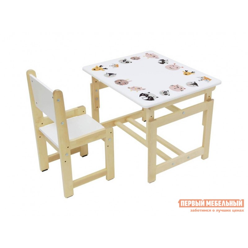 Столик и стульчик  Комплект растущей детской мебели Polini kids Eco 400 SM 68х55 см Лесная сказка (фото 5)