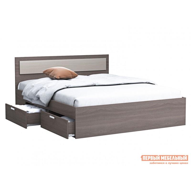 Односпальная кровать  Кровать Жаклин с ящиками Ясень шимо темный / Ясень шимо светлый, 1200 Х 2000 мм