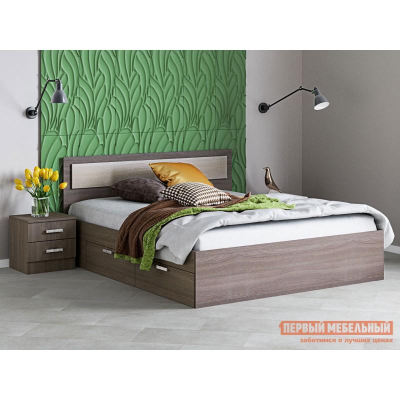 Односпальная кровать  Кровать Жаклин с ящиками Ясень шимо темный / Ясень шимо светлый, 1200 Х 2000 мм (фото 2)