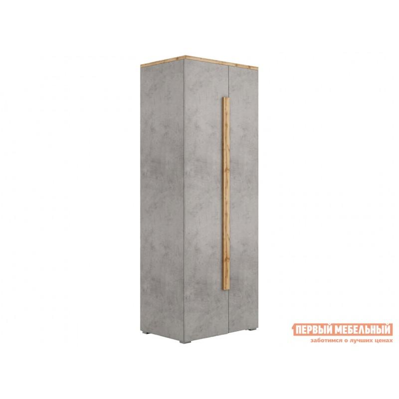 Распашной шкаф  Шкаф платяной 2003М1 Дуб Ватан / Бетон Чикаго, С топом-накладкой