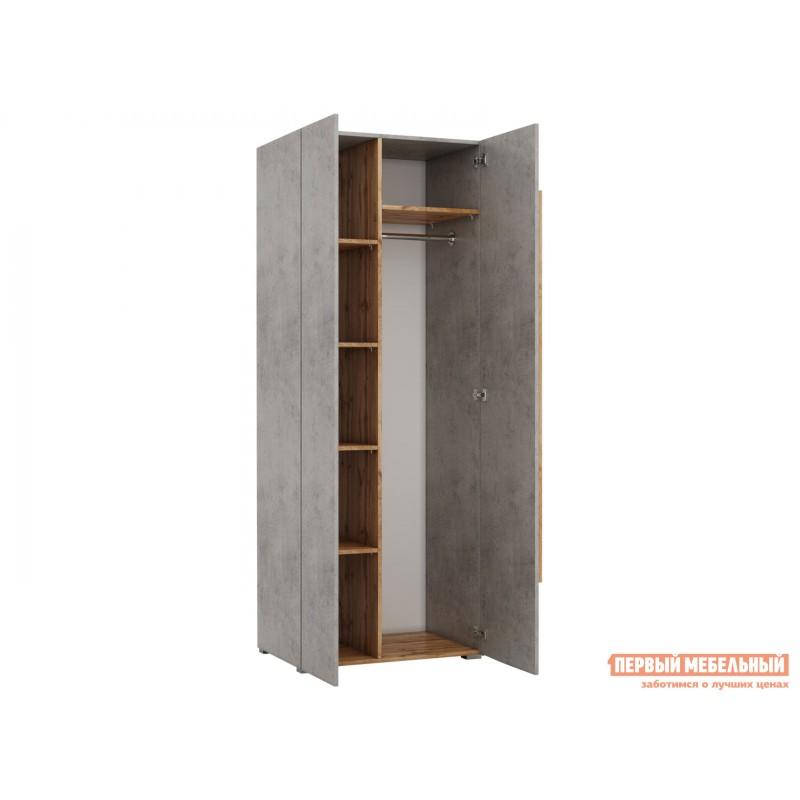 Распашной шкаф  Шкаф платяной 2003М1 Дуб Ватан / Бетон Чикаго, С топом-накладкой (фото 2)