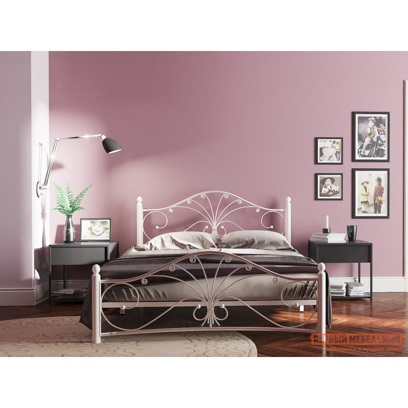 Двуспальная кровать  Кровать Сандра Кремово-белый металл, 1600 Х 2000 мм (фото 3)