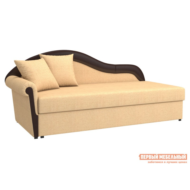 Прямой диван  Вентура Песочный, рогожка / Коричневый, иск. кожа, Левый
