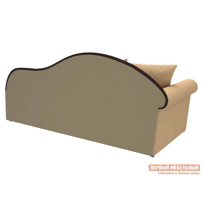 Прямой диван  Вентура Песочный, рогожка / Коричневый, иск. кожа, Левый (фото 2)