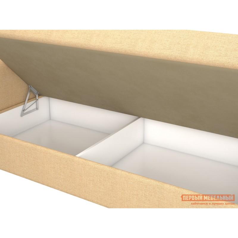 Прямой диван  Вентура Песочный, рогожка / Коричневый, иск. кожа, Левый (фото 3)