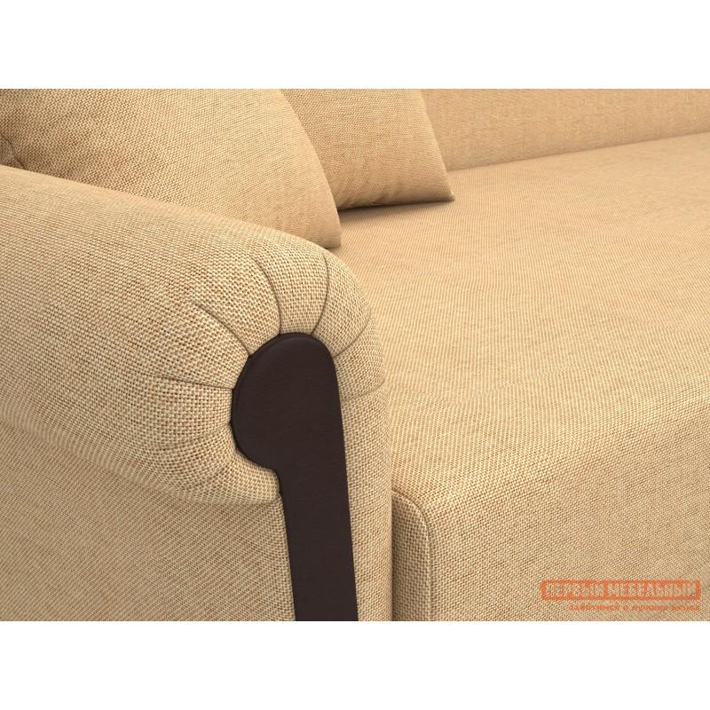 Прямой диван  Вентура Песочный, рогожка / Коричневый, иск. кожа, Левый (фото 4)