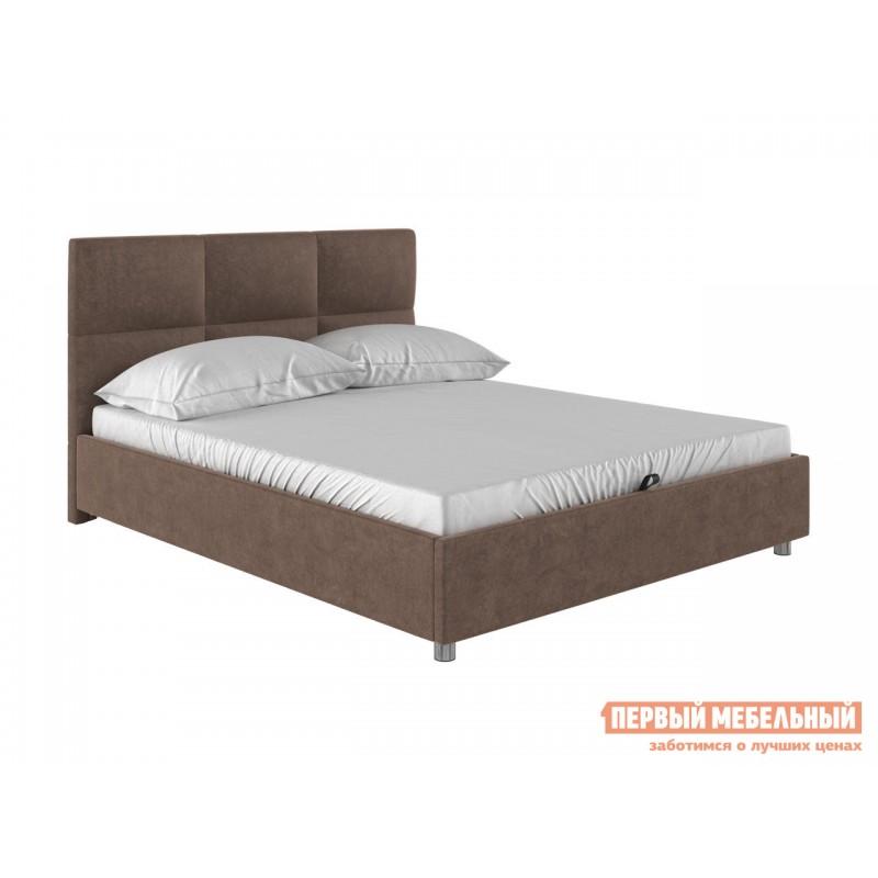Двуспальная кровать  Кровать с мягким изголовьем Агата Коричневый, велюр, 160х200 см