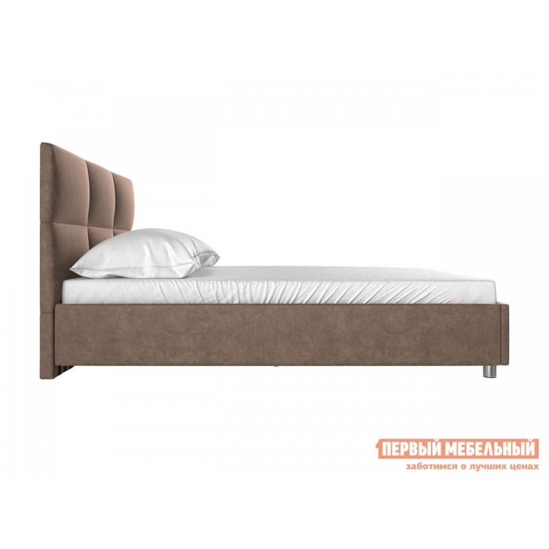 Двуспальная кровать  Кровать с мягким изголовьем Агата Коричневый, велюр, 160х200 см (фото 2)