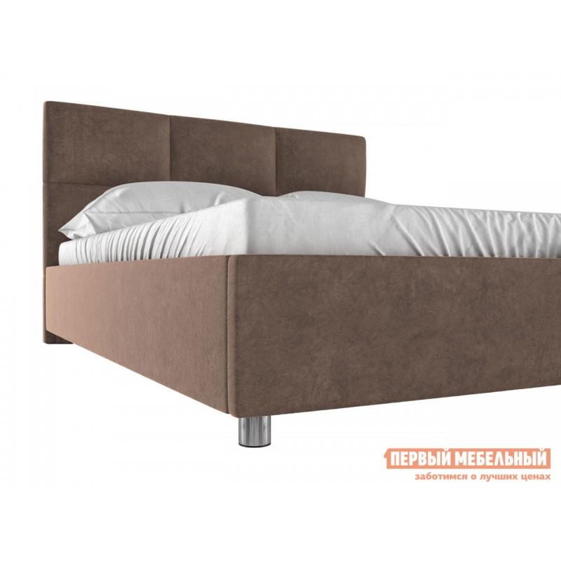 Двуспальная кровать  Кровать с мягким изголовьем Агата Коричневый, велюр, 160х200 см (фото 3)