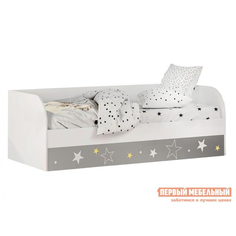 Детская кровать  Трио Кровать детская (с подъёмным механизмом) КРП-01 Белый, звездное детство, Без бортика, Без мягкой спинки, Тиффани, велюр