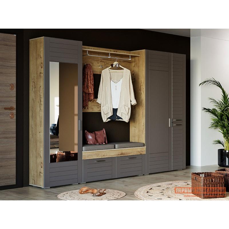 Шкаф распашной  Шкаф для одежды 3-х дв. Ливорно 013.36 Дуб бунратти / Софт графит , С зеркалом (фото 2)