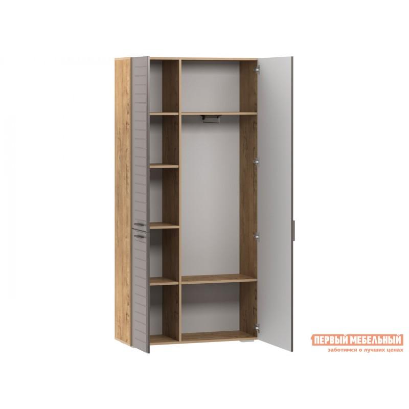 Шкаф распашной  Шкаф для одежды 3-х дв. Ливорно 013.36 Дуб бунратти / Софт графит , С зеркалом (фото 3)