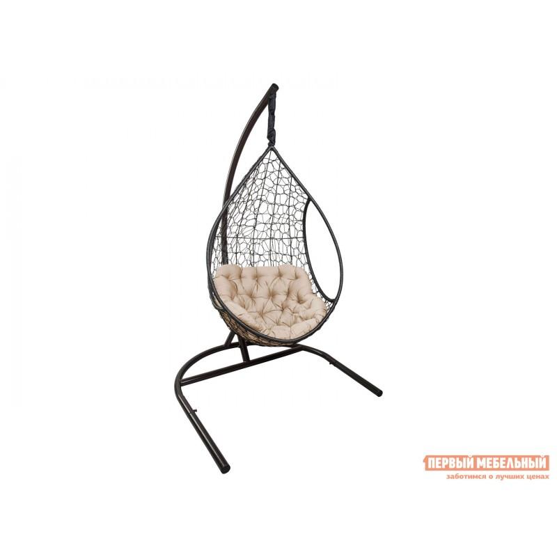 Подвесное кресло  ЛИРА Темно-коричневый, ротанг / Бежевый, ткань