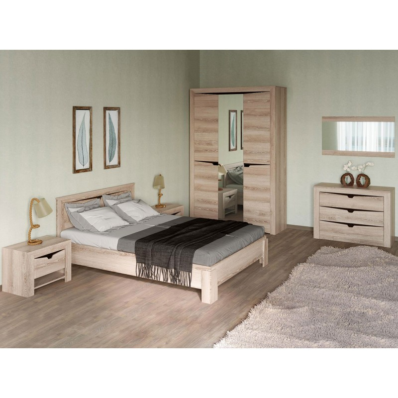 Двуспальная кровать  Кровать Гарда NEW Ясень Таормино, 140х200 см, С основанием, Без подъемного механизма (фото 9)