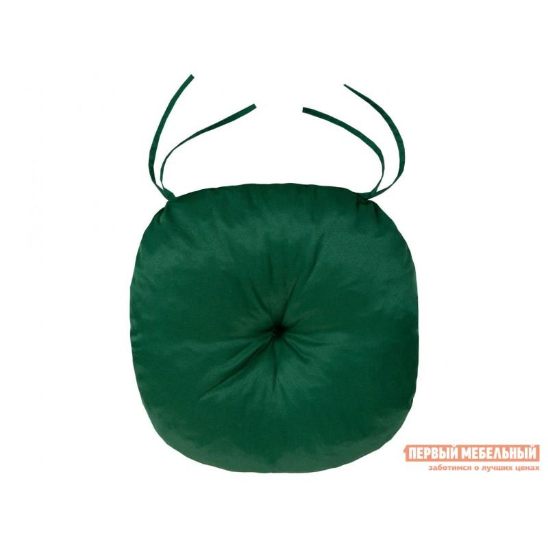 Матрас для шезлонга  Подушка-сидушка Темп круглая с завязками с имитацией пуговиц 4588, зеленый