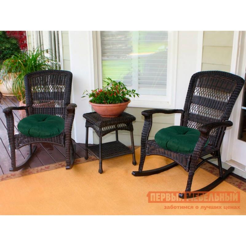 Матрас для шезлонга  Подушка-сидушка Темп круглая с завязками с имитацией пуговиц 4588, зеленый (фото 2)